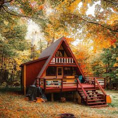Tiny House Cabin, Tiny House Design, Cabin Homes, Tiny Houses, Dream Houses, Cabins In The Woods, House In The Woods, A Frame House Plans, Cabins And Cottages