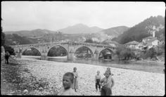 Titel 	Alte Brücke in Konjic, Jugoslawien Beschreibung 	Blick vom linken Ufer. Technik 	Schwarz-Weiß-Negativ Datierung 	um 1920 1920, Bosnia And Herzegovina, Lamb, Fairy Tales, Ottoman, Country, Grey, Monochrome