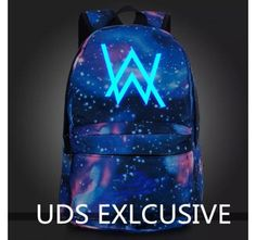 Alan walker glow in the dark galaxy backpack booksbag fade album logo