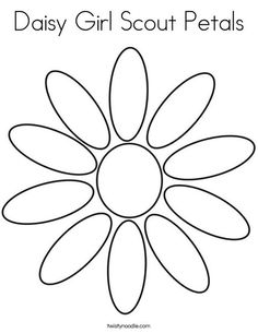 Daisy Girl Scout Petals Coloring Page from TwistyNoodle.com