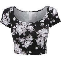 LE3NO Womens Fitted Short Sleeve Scoop Neck Floral Print Crop Top ($8.99) ❤ liked on Polyvore