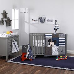 "Disney Baby Mickey Mouse ""Hello World"" 4 Piece Crib Bedding Set - Navy Denim & White"