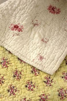 Antique French Provencal quilt Provence 18th -19th century yellow ground | eBay