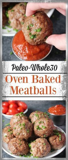 Easy Oven Baked Paleo Meatballs- tender, flavorful and so delicious! Ready in under 30 minutes. Gluten free, Whole30, and dairy free. Whole 30 Meatballs, Bake Meatballs In Oven, Gluten Free Meatballs, Paleo Recipe Meatballs, Whole30 Turkey Meatballs, Easy Meatball Recipe, Healthy Beef Meatballs, Easy Baked Meatballs, Baked Italian Meatballs