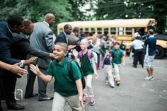 Kids reporting to an elementary school in Hartford, Conn. for the first day of classes got a truly remarkable welcome.