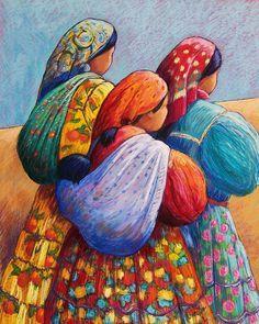 Tarahumara Women Canvas Print / Canvas Art by Candy Mayer Mexican Paintings, Mexican Artwork, Afrique Art, Art Africain, Mexican Folk Art, Naive Art, Native American Art, Indian Art, Female Art