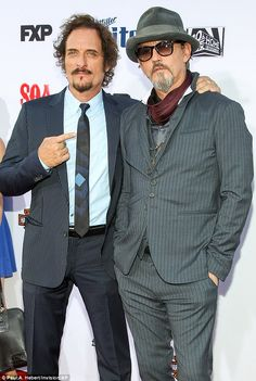Stripes galore: Kim Coates and Tommy Flanagan wore suits with a similar pattern