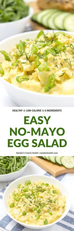 No Mayo Ginger Egg Salad loaded with HEALTHY nutrients, super light and very nutritious. It's perfect on a sandwich or as party food served with veggies or chips. #healthy #whole30 #paleo #salad #eggs #Easter #leftover #nomayo #lowcal   natalieshealth.com
