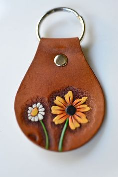 Black Eyed Susan and Mini Daisy Hand Tooled Leather by sunnyrising, $35.00. This is adorable.