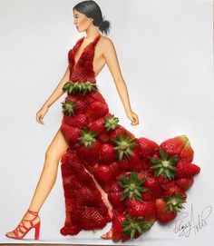 'Mrs. Strawberry' #Strawberries by @edgar_artis#FashionIllustrations| Be Inspirational❥|Mz. Manerz: Being well dressed is a beautiful form of confidence, happiness & politeness