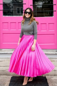 Modest Pink Pleated Skirt