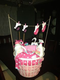 Baby clothes line baby shower gift basket (alternative to diaper cake)