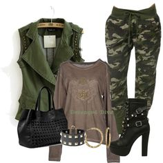 Military Chic. A fashion look from March 2015 featuring Yes Zee by Essenza t-shirts, Steve Madden shoulder bags and Valentino bracelets. Browse and shop related looks.