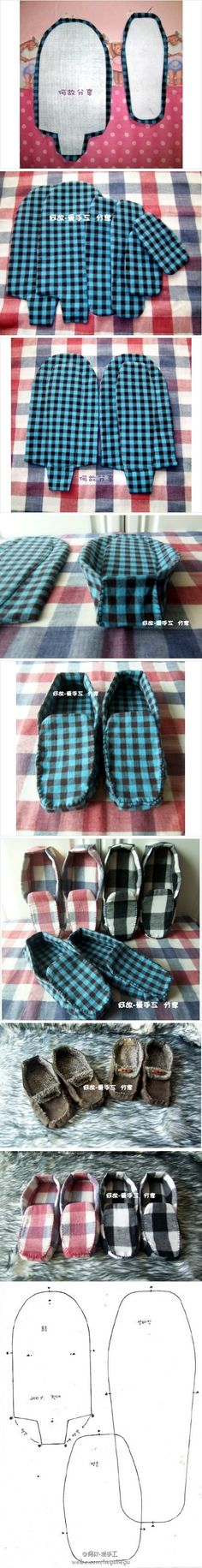 Image only tutorial to make your own house slippers from upcycled shirts, sweaters, and blankets!