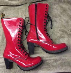 Dr Doc Martens Red Patent Dee Diva 14 Eye Boot High Heel Sexy US 9 | eBay
