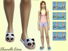Panda slippers at Shanelle Sims via Sims 4 Updates