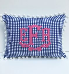Monogrammed Appliqué Pom pom Pillow Cover by peppermintbee on Etsy