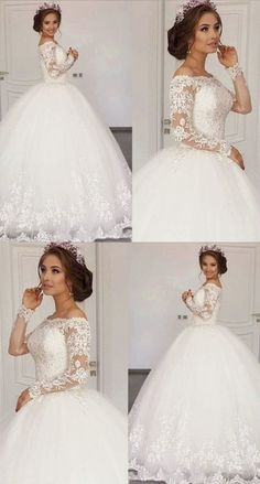 dresses ball gown sparkle Prom Dresses Elegant, Vintage Long Sleeves Lace Wedding Ball Gown Dresses For Bride York Dresses Most Beautiful Wedding Dresses, Dresses Elegant, Muslim Wedding Dresses, Western Wedding Dresses, Blue Wedding Dresses, Classic Wedding Dress, Princess Wedding Dresses, Perfect Wedding Dress, Bridal Dresses