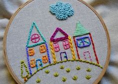 Stitch up cute little embroidered houses that have a personality all their own by using a variety of stitches.