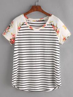 Stripe Top Women Short Sleeve Woman's Fashion Summer Women T shirt Floral Raglan Sleeve Striped Tee Shirts & Tops, Cute Shirts, Women's Tops, Look Fashion, Fashion Outfits, Fashion Black, Fast Fashion, Fashion Ideas, Mode Top