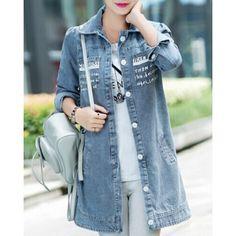 Wholesale Casual Shirt Collar Long Sleeves Printed Denim Coat For Women