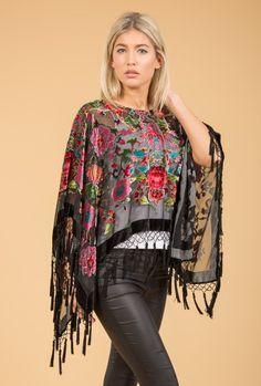 Black Floral Poncho | Jayley Silk Devore Poncho