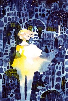 A girl wanders through a starry night lit building.
