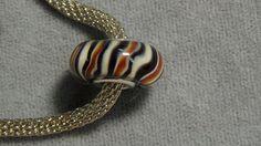 european glass bead stripes black brown white big hole ooak 905 #Lampwork