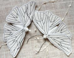 Handmade Fabric Moth Ornament - Textile Lepidoptera - by BlueTerracotta @ Etsy