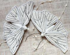 Handmade Fabric Moth Ornament - Textile Lepidoptera - by BlueTerracotta @ Etsy