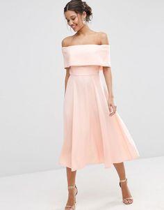 ASOS | ASOS Soft Off The Shoulder Bardot Midi Prom Dress at ASOS