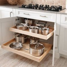 The 12 Best Small Kitchen Remodel Ideas, Design Photos - Browse photos of Small kitchen designs. Discover inspiration for your Small kitchen remodel or upgrade with ideas for storage, organization, layout an. Pan Storage, Kitchen Storage, Kitchen Decor, Kitchen Organization, Storage Ideas, Storage Design, Drawer Design, Storage Organization, Kitchen Pull Out Drawers
