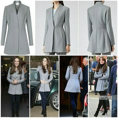 "One of my favourite coat of Catherine's wardrobe is the Reiss 'Delaney' coat.Kate debuted the coat in December 2013 when she visited the Shooting Star House Children's Hospice and repeated it at a  Rugby match in 2015.  The Reiss 'Delaney' coat is a collarless jacket with seam detailing, a flared fit, slit pockets, and fastens with a single concealed button.  It retailed for £275. It is described as a ""collarless wool-rich coat in a sleek, modern cut."" What do you think about this coat?"