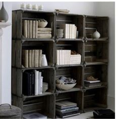 Combine this look with the black wood crates from Michaels idea = classy boocakse. Just add the wardware in the corners and a weathered wood finish.