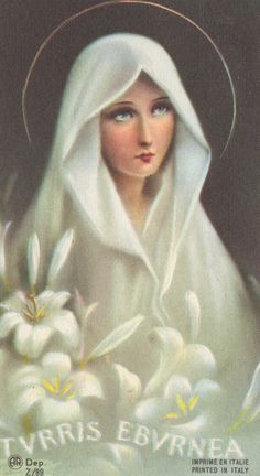 "Vintage Catholic prayer card, ""Tower of Ivory"""