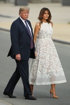 First Lady Melania Trump made an appearance in a Delpozo midi dress on Sunday, August 20 — see more of her most stylish looks here Blue Dresses, Summer Dresses, Formal Dresses, Wedding Dresses, Vestidos Elie Saab, Dress Outfits, Fashion Dresses, White Dress Outfit, Fashion Fashion