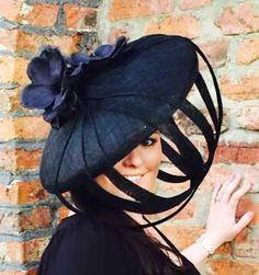 Hat fascinator headpiece large saucer black pink flower kentucky derby races wedding christening formal