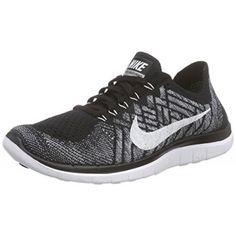 sale retailer e01e5 f65bc Nike Men s Free 4.0 Flyknit Black White Wolf Grey Drk Grey Running Shoe