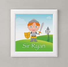 Personalized Knight Wall Art or Children's by mytinytotcreative, $10.00