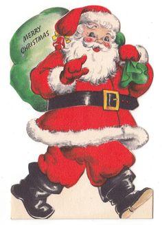 VINTAGE SANTA GREETING CARD - Vintage Greeting Card Christmas Santa Claus Bag Hallmark Die-Cut 1950s