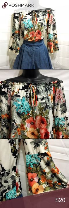 NWOT Floral off shoulder lace sleeves blouse Brand new, never worn - Extremely cute - Multiple ways to style it - Perfect for summer/spring. Tops Blouses