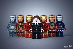 LEGO Marvel Super Heroes Iron Man , Iron Patriot , War Machine & Custom Tony Stark Minifigs by LegoJeff
