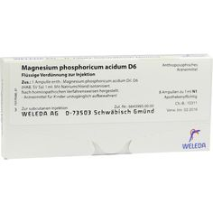 MAGNESIUM PHOSPHORICUM ACIDUM D 6 Ampullen:   Packungsinhalt: 8X1 ml Ampullen PZN: 01623921 Hersteller: WELEDA AG Preis: 12,49 EUR inkl.…