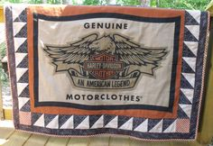 Harley Davidson Quilt/Throw  great fathers day gift quilted throw!  Love this