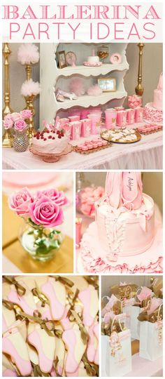 What a gorgeous pink and gold ballerina first birthday party! See more party ideas at CatchMyParty.com!