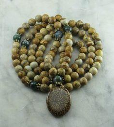 Bohemian Mala - Jasper and Mohogany Seed - Malas, Buddhist Prayer Beads, 108 Mala Beads - Grounding and Balance