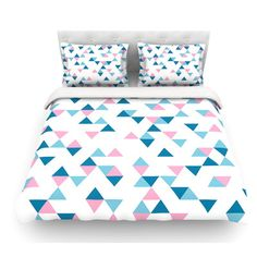 East Urban Home Triangles by Project M Blush Featherweight Duvet Cover Size: Twin, Color: Pink/Blue