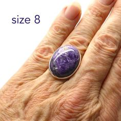 Charoite Ring Oval Cabochon |  925 Sterling silver | Size 8 | Magnificent Deep Purple with swirls symbolising stirring spiritual powers | Australian Supplier since 1986