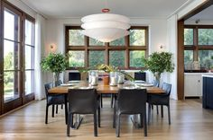 Our next project photo series is Sag Harbor. In the dining room, an Ingo Maurer fixture hovers above the table and creates airy atmosphere. Large Square Dining Table, Modern Dining Room Tables, Square Tables, Dining Rooms, Modern Interior, Interior Design, Interior Architecture, Ingo Maurer, Piece A Vivre