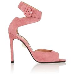 SAMUELE FAILLI Women's Jerry Suede Ankle-Wrap Sandals ($670) ❤ liked on Polyvore featuring shoes, sandals, pink, high heel stilettos, pink stilettos, high heels sandals, pink shoes and wrap sandals